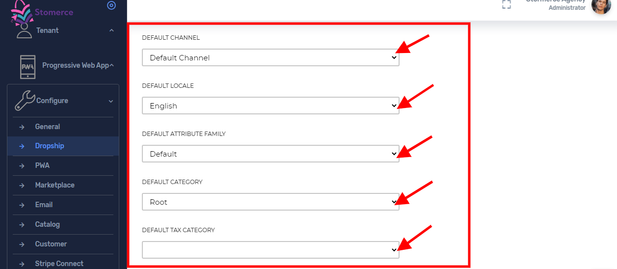 Select default channels, locales, attribute family, category, and tax category for imported product