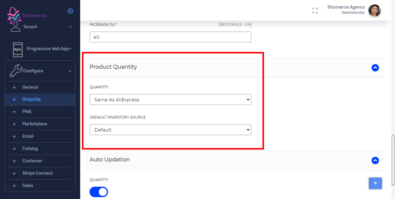 Set Product Quantity For Dropship by selecting the quantity and inventory source type